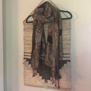 Adrienne Vittadini metallic paisley wrap scarf